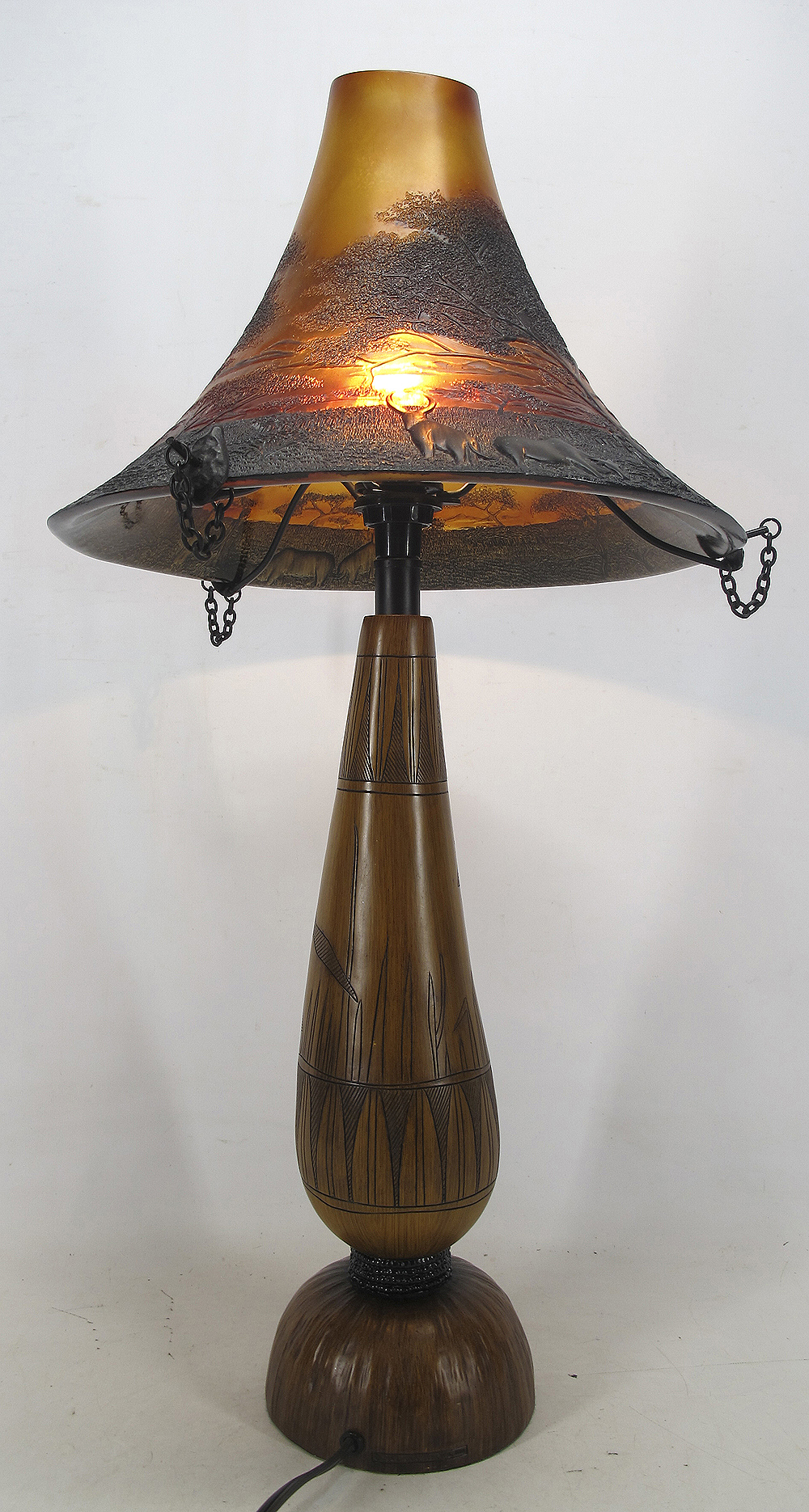 vtg maasai collection tribal serengeti working wood table lamp w resin shade yqz ebay. Black Bedroom Furniture Sets. Home Design Ideas