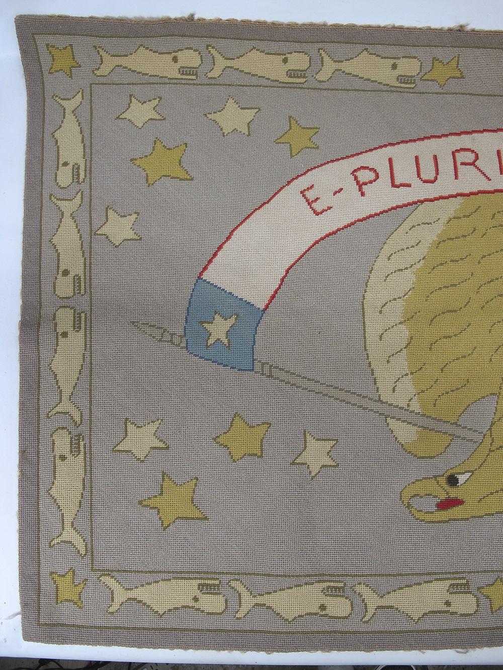 Antique Patriotic Americana Folk Art Hooked Rug American